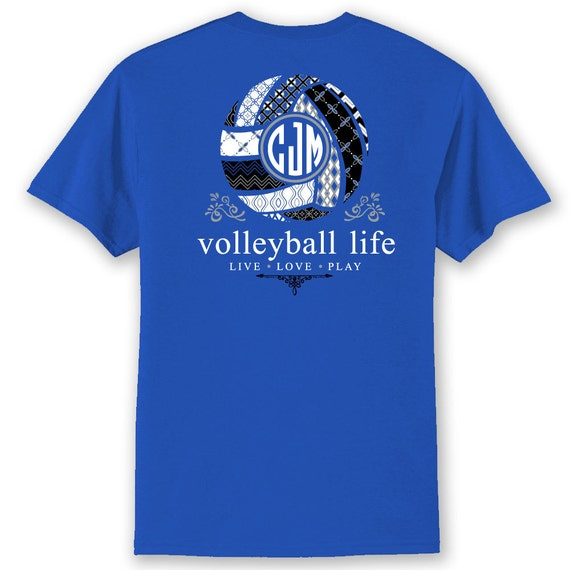 OFFICIAL TM Volleyball Life™ TEAM Colors Custom Monogram Long Sleeve T-Shirt Volleyball Shirt Volleyball T Bwa8x9XcxW