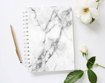 Grey Marble Notebook, Lined Notebook, Spiral Notebook, Lined Journal, Minimalist Notebook, Cute Notebook for Kids, Back to School Notebook