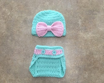 Light Teal and Pink Diaper Cover Set