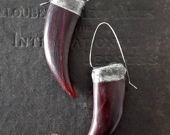 Long Carved Horn Earrings - Rustic Woodland Boho Festival - Sterling Ear Wires
