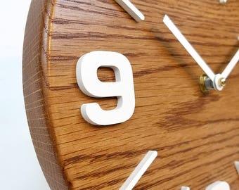 Oak wood clock. Modern clock. Numbers clock. Contemporary clock. 10 inch wall clock. Wood wall clock. Silent wall clock.    CL5038