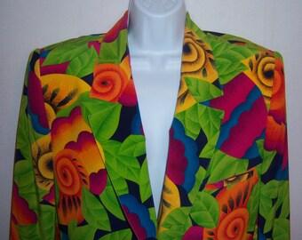 Vintage Evan Picone Lime Green Blue Orange Magenta Tropical Floral Flower Print Silk Suit Jacket and Skirt Size 10