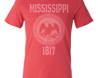 Mississippi State Seal T-Shirt. Vintage Style Soft Retro Southern Shirt Unisex Men's Slim Fit and Women's Tee