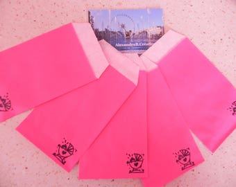20 Kraft envelopes 7 x 12 cm pink floral baby's room