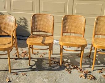 Set of 4 MID CENTURY Josef Hoffmann THONET Prague 811 Cane Bentwood Chairs Made In Poland