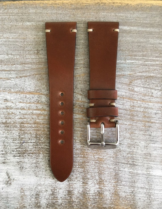 20/16mm Bourbon Horween Shell Cordovan watch band - short!