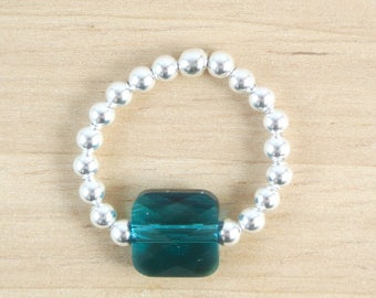 Ring elastic Sea Blue Swarovski Crystal
