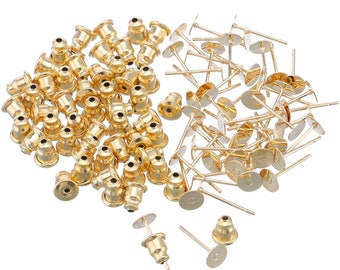 Earring Blanks Gold Earring Blanks Stainless Steel Blanks Gold Earring Pads Blank Earrings Wholesale Jewelry Supplies 100pc