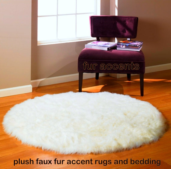 Thick Faux Fur Round Accent Rug Plush Shaggy Sheepskin