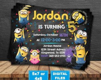 minions invitation minions birthday party invite despicable me