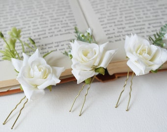 Ivory Flower Hair Pin, rose hair pin, Floral Hair Pin, ivory flower clip, Flower Hair Accessory, Wedding Hair Pin, Bridesmaids Hair Pin