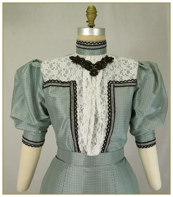 Edwardian Blouses | White & Black Lace Blouses & Sweaters Sage and Black Stripe Silk Victorian Blouse $120.00 AT vintagedancer.com