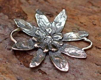 Artisan Sterling Silver Flower Link, L-334