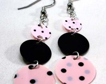 Sequin Earrings Pink & Black Polka dot Round Circle Drop Earrings Plastic Sequins