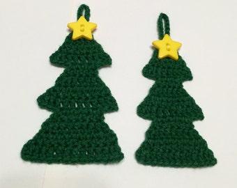 Crochet Tree Ornament Set of 2, Christmas Tree Ornament, Crochet Christmas Tree, Pkg Tie On, Gift Tag