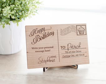 """Wooden Birthday Postcard With Cupcake Stamp ~ 6"""" By 4"""""""