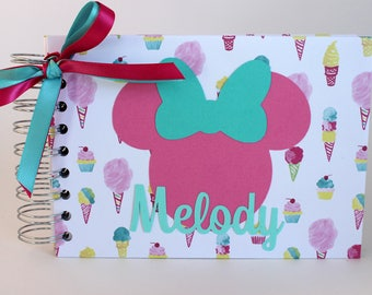 Disney Autograph Book Personalized Minnie Mouse Ice cream Cotton Candy Cupcake Disneyworld Disneyland Disney Cruise