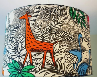 Puffin lampshade bird lampshades nautical lampshade drum jungle animal lampshade giraffe lampshade elephant monkey tropical flamingo butterfly leopard kids bedroom childrens lampshade aloadofball Images