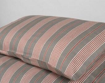 Linen Pillow case, Linen Bedding, Linen Pillow case, Grey Stripes Pillow Case