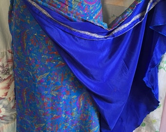 OPEN SIZE, Wrap Skirt, Silk Bohemian Hippie Boho Indie Artsy Layered Blue Skirt