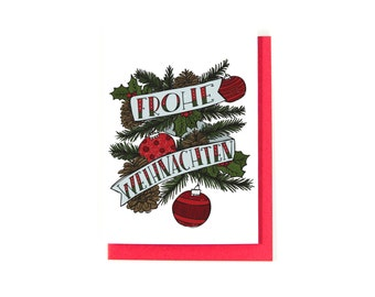 Frohe Weihnachten Greeting Card - German Christmas Card - Merry Christmas Card - Christmas Greetings- Happy Holidays - Season's Greetings
