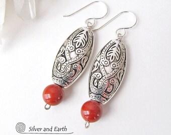 Red Jasper Earrings, Silver Dangle, Lightweight Earrings, Moroccan Earrings, Boho Earrings, Bohemian Jewelry, Red Earrings, Jasper Jewelry