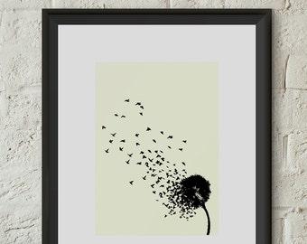 I believe I can fly Poster Print Dandelion Birds Inspiration Giclee Art Illustration Home Dorm Room Office Decor Gift