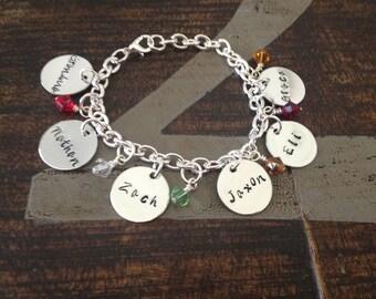 Personalized Charm Bracelet Grandma Bracelet Grandchild Bracelet Handstamped Jewelry Birthstone Jewelry Mom Charm Bracelet Grandma Gift