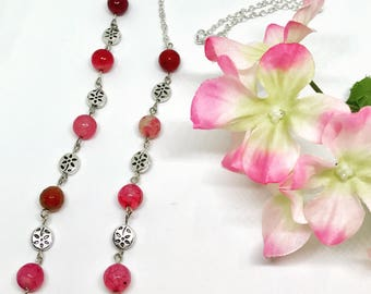 Red Agate Necklace, Pink Agate, Agate Necklace, Crystal Necklace, Gemstone Necklace, Beaded Necklace, Boho Necklace, Red Necklace, Red Beads