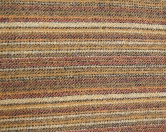 Red, Brown, and Gold Stripes -  Felted Wool Fabric Yard in 100% Wool in a Fat Eighth or Fat Quarter Yard