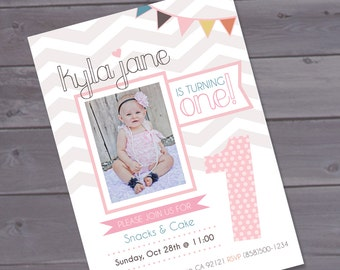 First birthday invitation - Girly Vintage Printable