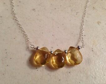 Citrine Necklace - Yellow Beadbar Jewelry - November Birthstone - Sterling Silver - Gemstone Jewellery - Chain
