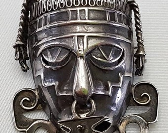 Sterling Silver Mexican, Mayan, Aztec Tribal Warrior Face Mask Brooch