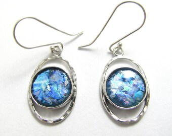Amazing  Roman Glass 925 Sterling Silver Earrings
