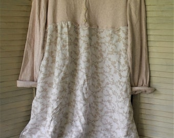 Restructured Dressses/ Upstyled Clothing/ Plus Size Clothing/ Cotton Clothing/ Farmhouse Chic/ Romantic Clothing/ Sheerfab Handmade