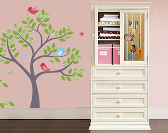 Nursery Kids tree vinyl wall decal with 3 birds and butterfly's
