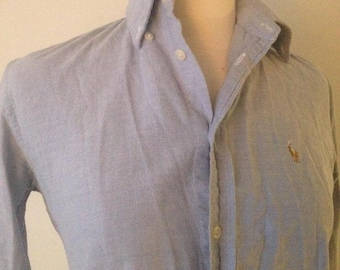 Crisp Steel Blue Vintage Women's Ralph Lauren Polo Blouse, Size Small