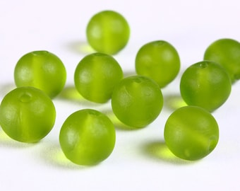 12mm Green handmade frosted lampwork beads - 12mm round glass beads (532)