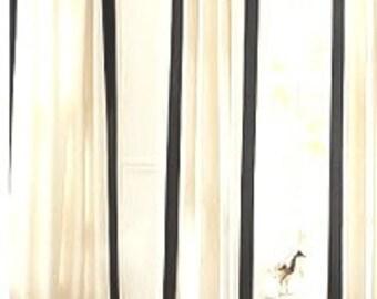 """Wide Grosgrain Ribbon Curtains 3"""" trim"""