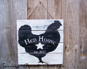 Chickens, Established Chicken Coop Signs, The Hen House, Chicken Signs, Chicken Coop Decor, Rustic, Handpainted, Farmhouse Decor, Home Decor