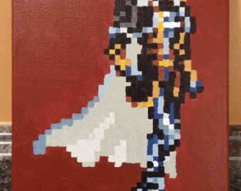Alucard - Symphony of the night pixel painting 8x10 canvas (PSX)