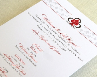 Las Vegas Wedding Itinerary Card - Casino Welcome Bag Card - Destination Events Card - Custom Colors