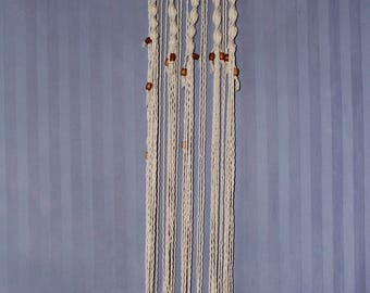 Natural, Cotton Macrame Wall Hanging ft. Wood Branch, Wooden Beads