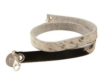 Wrips - Cow Hide Bracelet - Cow Print - Double Wrap Bracelet - Leather Bracelet - Black White
