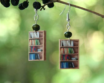 Miniature Book Shelf earrings, Book earrings, Reader earrings, Book jewelry, novel jewelry, book geek, book nerd, book lover