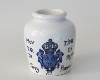Vintage 1950s Fine Dijon Mustard Pot Made in France by Digoin Sarreguemines for the Grey Poupon Mustard of Dijon