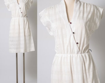 Vintage white dress, 80s Dress, Vintage capsleeve dress, 80s secretary dress,Semi-sheer dress,White stripe dress, Vintage stripe dress - M/L