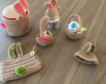 Rabbit mug and egg cosies with cute egg basket.