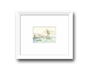 Lofoten Norway painting -  Fishing boats drawing - Norway  Europe - Norway art - Watercolor painting & Prints by Juan Bosco