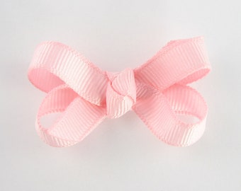 Baby Hair Bow in Light Pink - Extra Small Boutique Bow On Mini Snap Clip for Fine Hair Newborn to Toddler - Non Slip Barrette mm